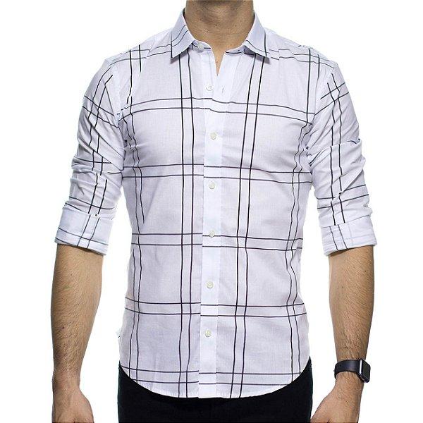 Camisa Social Sergio K Branca Xadrez Stretch Slim Fit