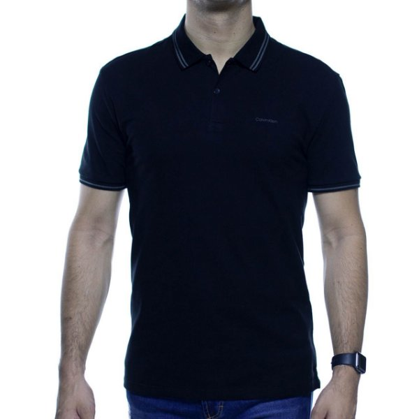 Camisa Polo Calvin Klein Preta Com Detalhe Cinza Na Gola