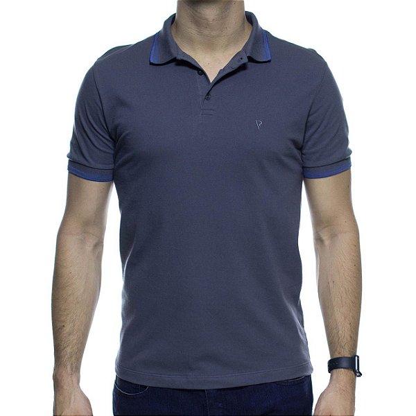 Camisa Polo VR Cinza Com Detalhe Azul Na Gola