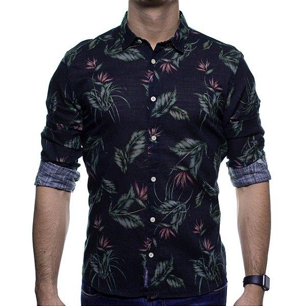 Camisa Social King e Joe Preta Folhagem