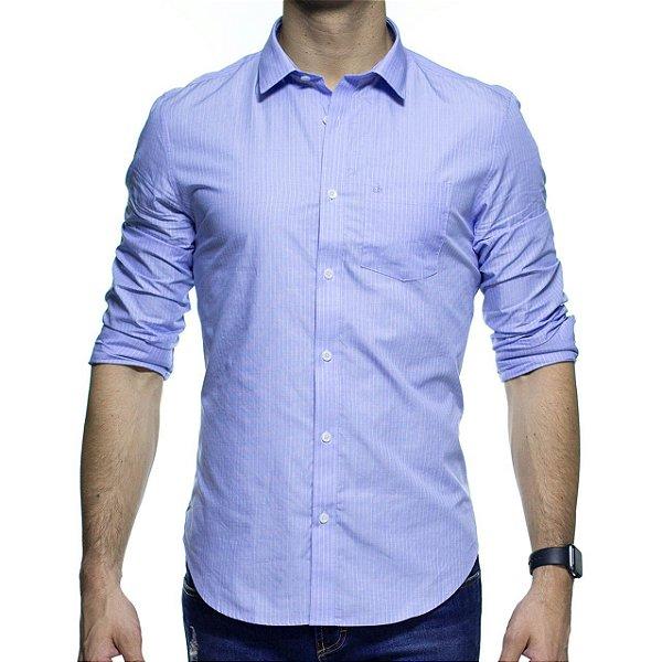 Camisa Social Calvin Klein Listrada Azul Com Bolso