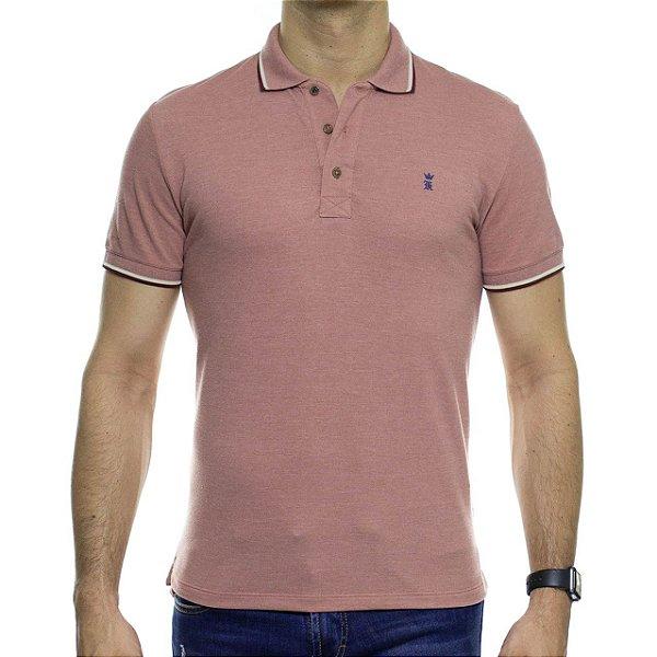 Camisa Polo Sergio K Rosa Distonado Com Detalhe Marrom Na Gola