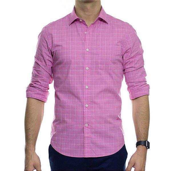 Camisa Social Richards Traveller Xadrez Com Bolso Rosa