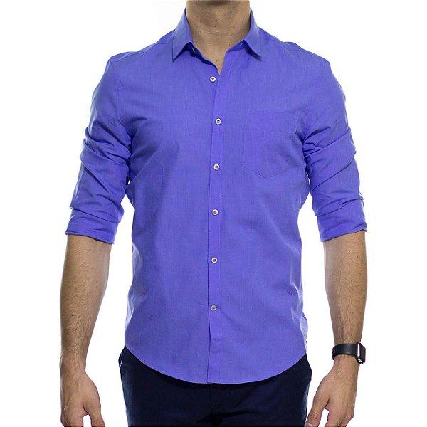 Camisa Social Richards Traveller Fil a Fil Com Bolso Azul