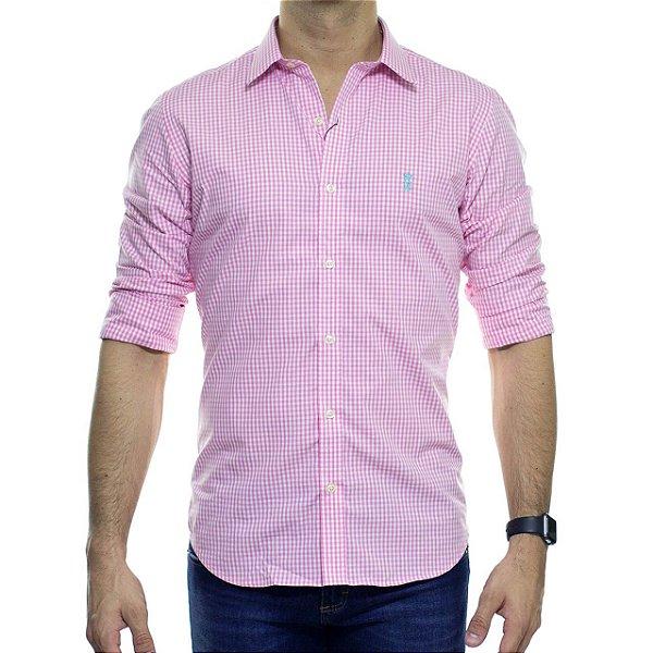 Camisa Social Sergio K Xadrez Summer Rosa