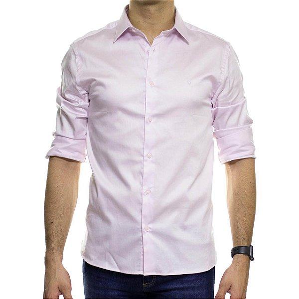 Camisa Social VR Rosa Acetinado Lisa Slim Fit