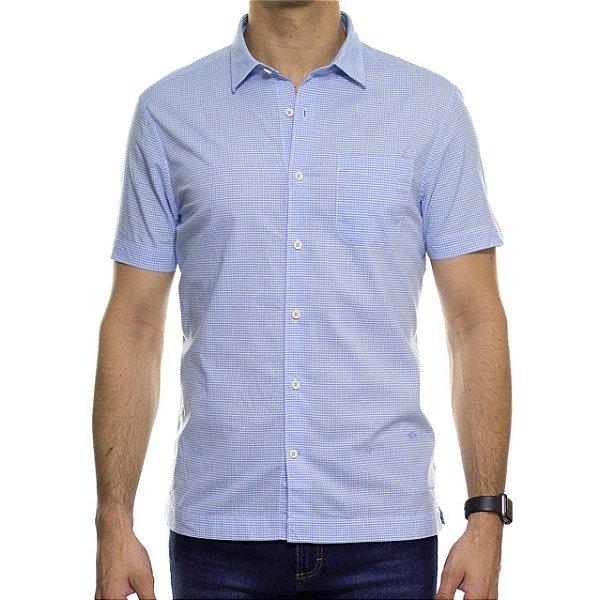 Camisa Social Richards Manga Curta Com Bolso Xadrez Azul Clara