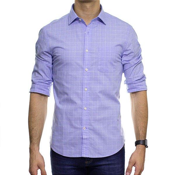 Camisa Social Richards Com Bolso Xadrez Azul