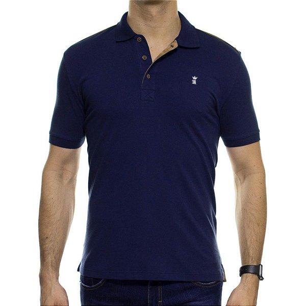Camisa Polo Sergio K Marinho com Detalhem em Camurça