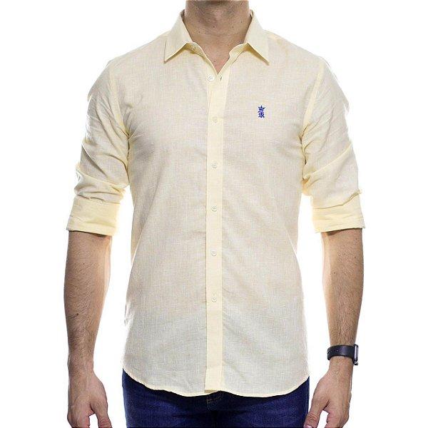Camisa Social Sergio K Linho Amarelo