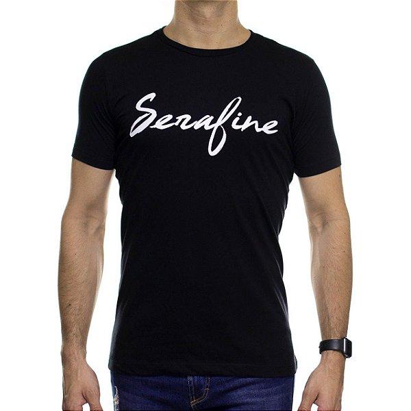 Camiseta de Malha Serafine Brush Preta Gola Careca