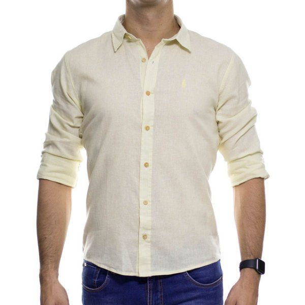 Camisa Social Ankor Linho Amarela Slim Fit