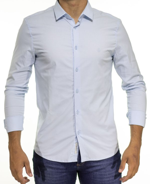 Camisa Social King e Joe Azul Claro Lisa Regular Fit