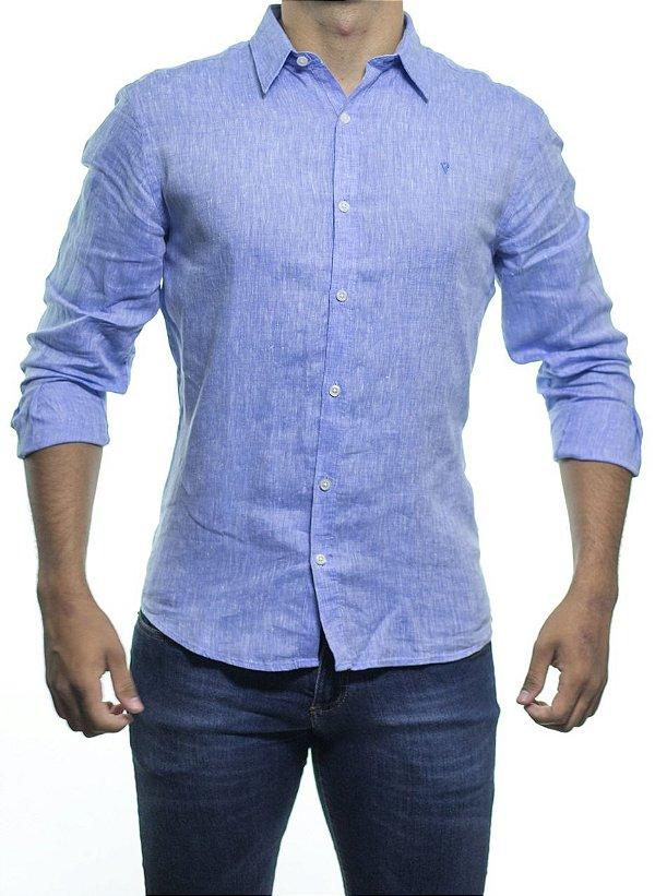 Camisa Social VR Linho Cross Dye Azul  Regular Fit