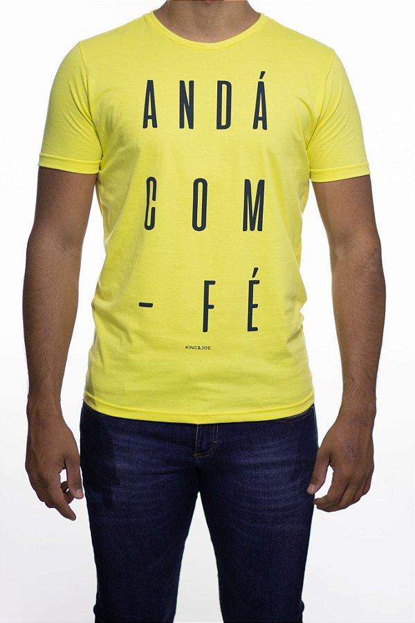 Camiseta Malha King e Joe Anda Com Fé Amarela