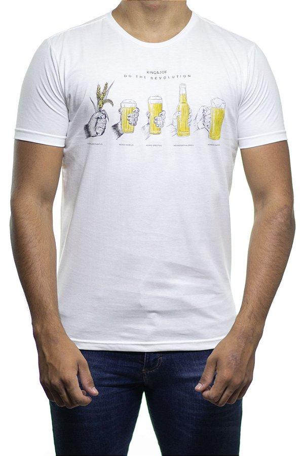 Camiseta Malha King e Joe Do The Revolution Beer Off White