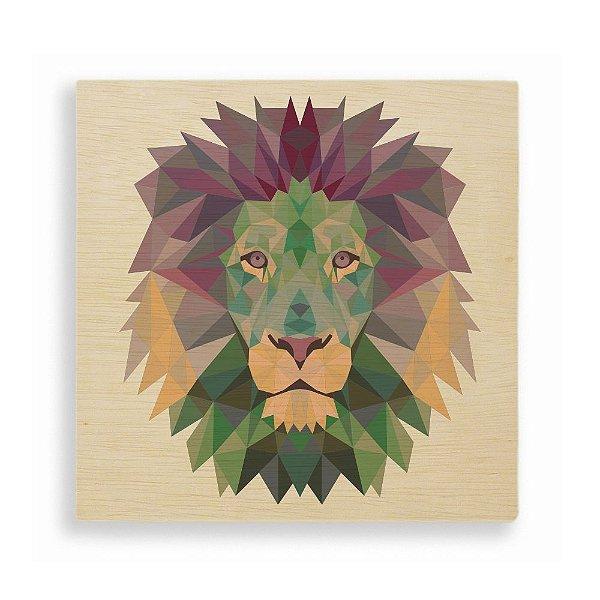 Quadro de Madeira - Geometric Lion