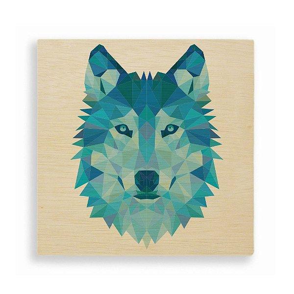 Quadro de Madeira - Geometric Wolf