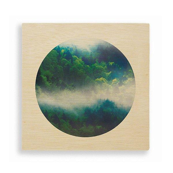 Quadro de Madeira - Fog Forest