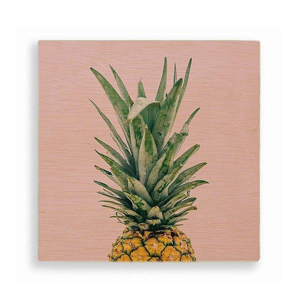 Quadro de Madeira - Pineapple Tropical Pink