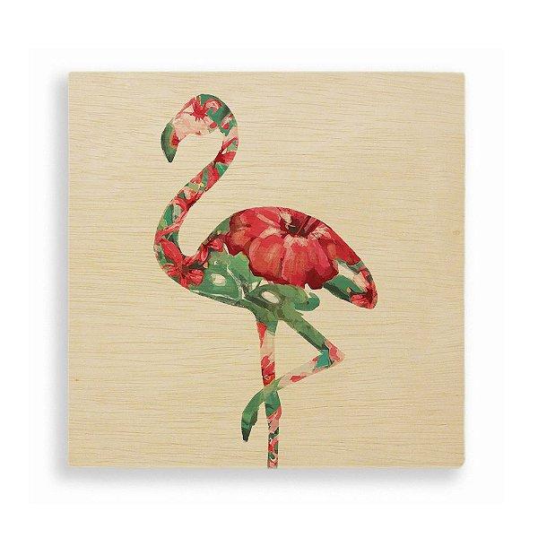 Quadro de Madeira - Flamingo Tropical