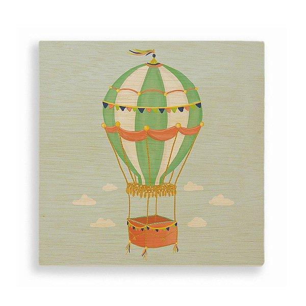 Quadro de Madeira - Balão Verde