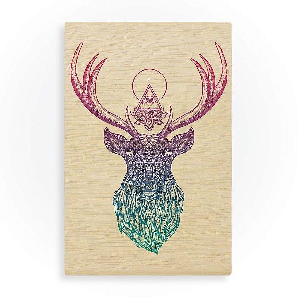 Quadro de Madeira - Deer Mandala Colors