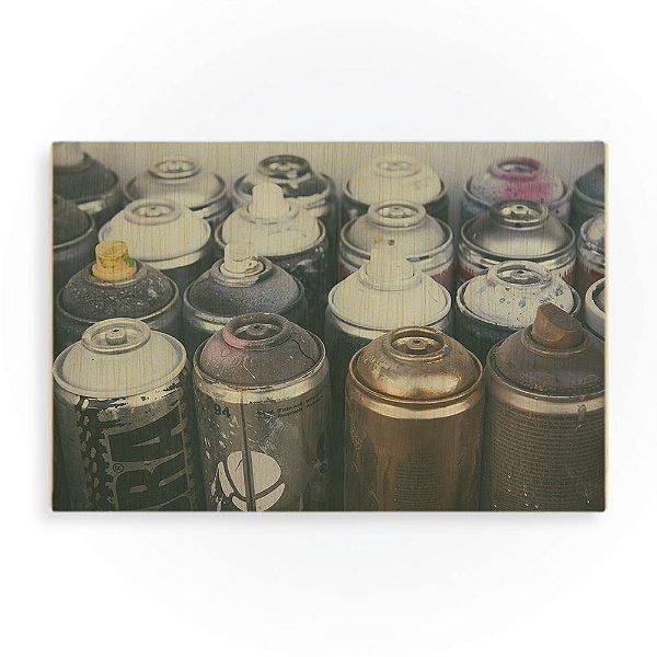 Quadro de Madeira - Old Spray Cans