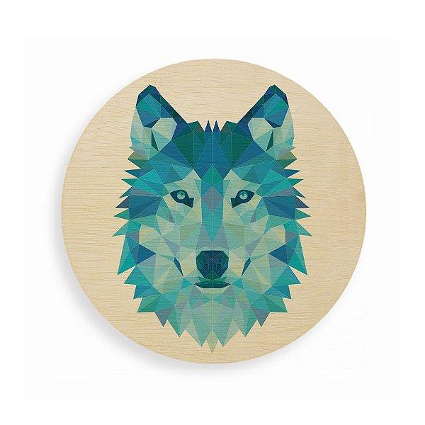 Quadro de Madeira Redondo- Geometric Wolf