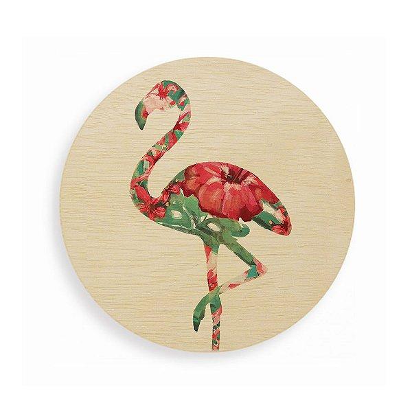 Quadro de Madeira Redondo - Flamingo Tropical