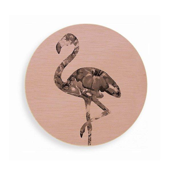 Quadro de Madeira Redondo - Flamingo Pink