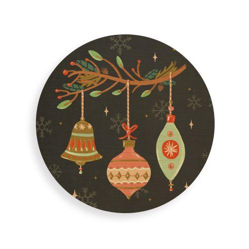 Quadro de Madeira Redondo - Luzes de Natal