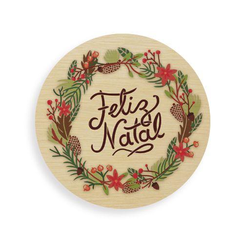 Quadro de Madeira Redondo - Feliz Natal Claro