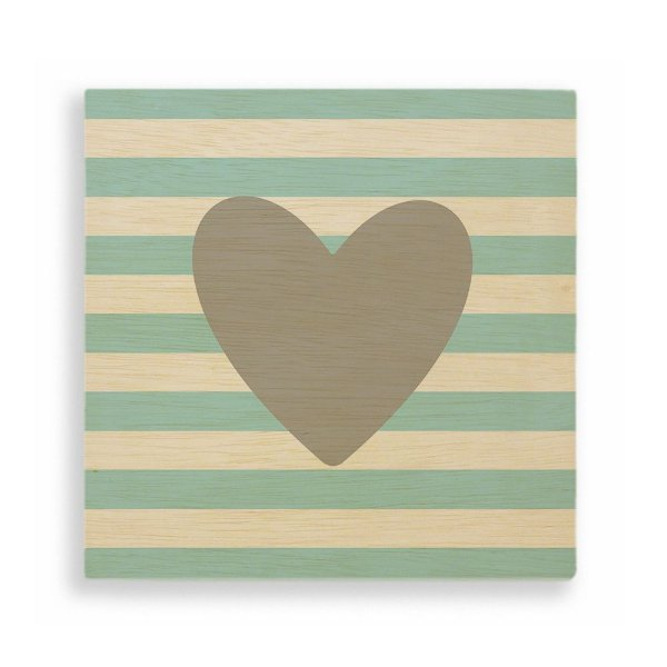 Quadro de Madeira - Coração Azul