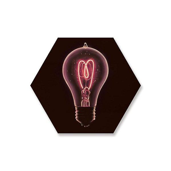Quadro de Madeira Hexágono - Lâmpada Coração