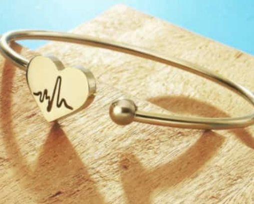 Bracelete Batimento Coração Aço Dourado 6mm