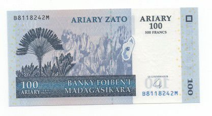Cédula Madagascar 100 Ariary ( 500 Francs )