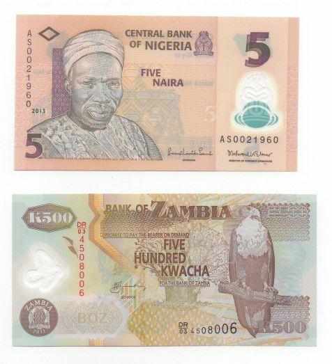 1 CÉDULA DE POLÍMERO (Plástico) DA NIGÉRIA E 1 CÉDULA DE POLÍMERO (Plástico) DA ZAMBIA