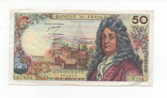Cédula de 50 Francos da França 1975 - MBC