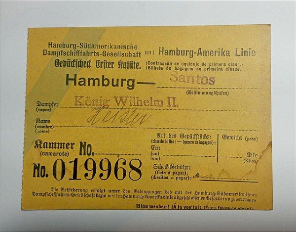 CARTÃO DE BAGAGEM NAVIO A VAPOR KONIG WILHELM II - 1907-1914