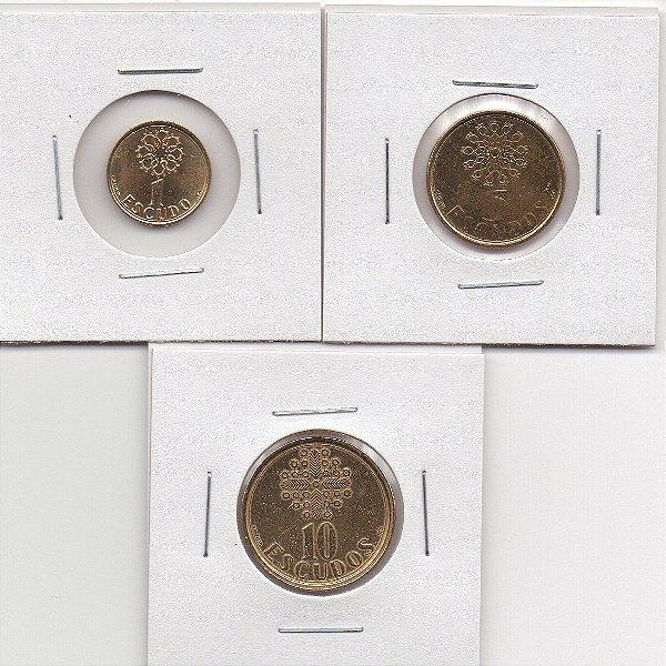 3 Moedas de Portugal 1, 5 e 10 Escudos