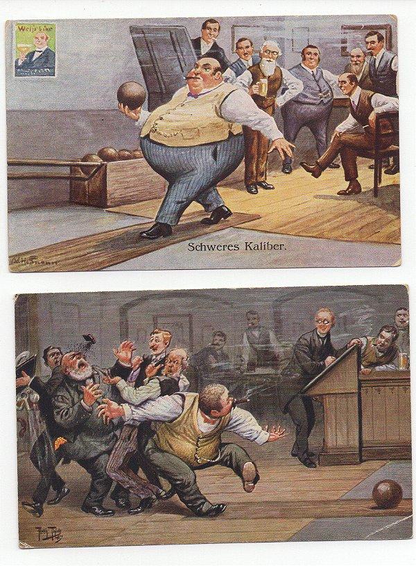 2 Cartões Postais - Alemanha anos 20 ou 30 - Ilustração de Arthur Thiele