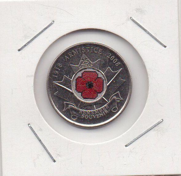 Moeda Canada - 25 Cents - 90º Aniversário do Armistício da I Guerra Mundial