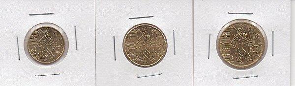 3 Moedas da França - Padrão Euro