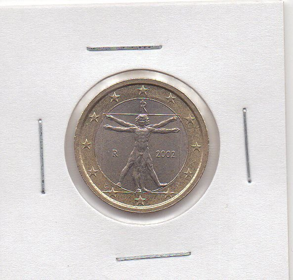 Itália - 1 Euro - 2002 - Leonardo Da Vinci Homem Vitruviano