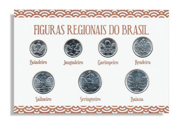 Série de moedas Figuras Regionais do Brasil + 1 Placa de MDF