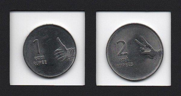 Set com 2 moedas de 1 e 2 Rupees da Índia