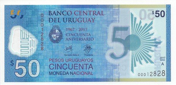 Cédula de 50 Pesos de polímero do Uruguai