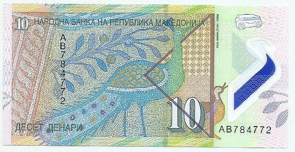 Cédula da Macedônia - 10 Denar - Polímero