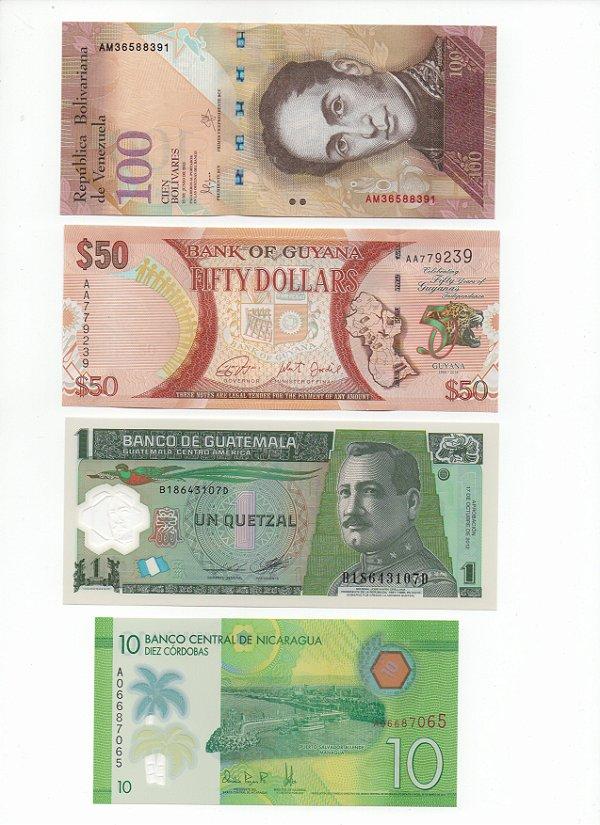 Lote com 4 Cédulas América do Sul e Central